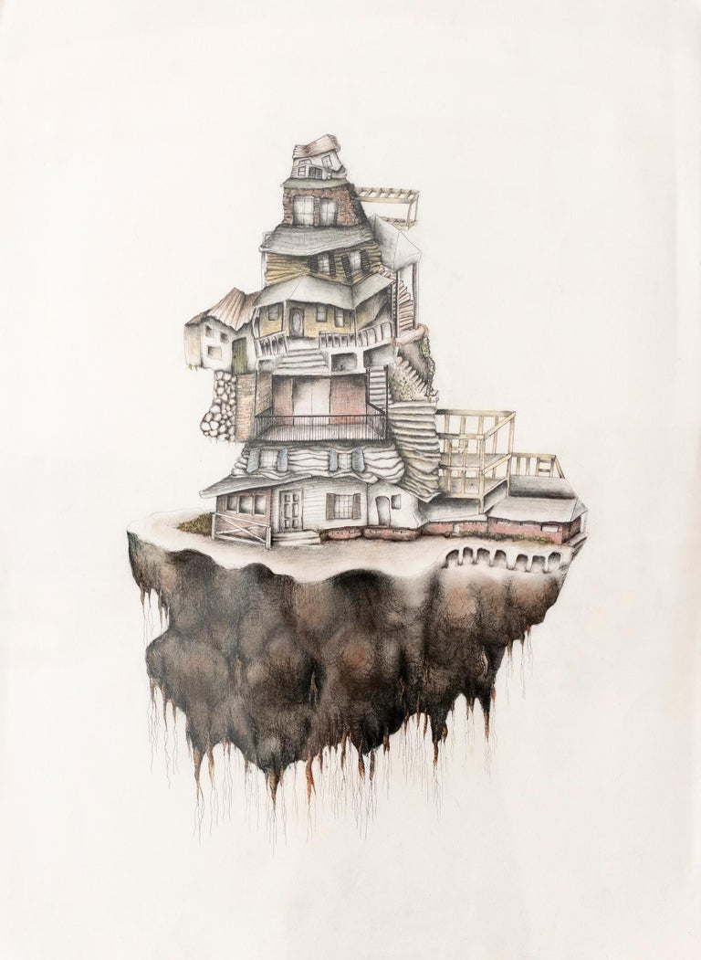 """""""Uprooted"""", mixed media, ink, charcoal, colored pencil, drawing, home - Art by Susan Greer Emmerson"""