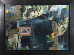 """""""But most like chaos II"""", Robin Colodzin, mixed media, collage, abstract, blues"""