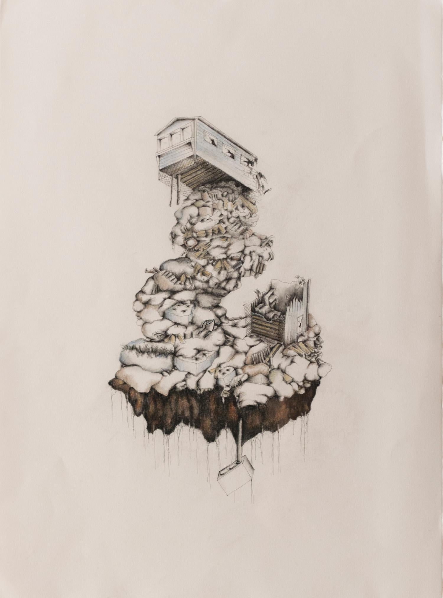 """""""Single-Wide in Two Parts with Septic Tank"""", drawing, ink, charcoal, home"""