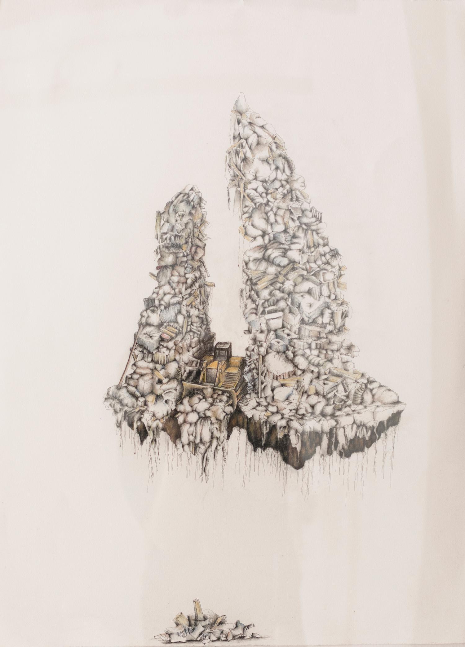 """Evidence of Human Habitation"", mixed media, drawing, ink, charcoal, bulldozer"