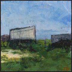 """Fort Ann VI"", acrylic, painting, landscape, contemporary, green, blue, purple"