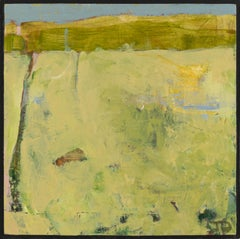 """Kildeer II,"" John J. Daly, acrylic painting, landscape, abstract, yellow, green"