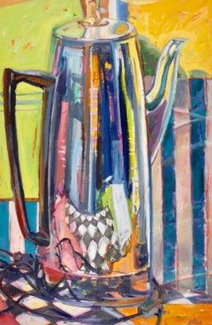"""""""Silver Pot I"""", acrylic, oil, painting, still life, retro, ready to hang"""