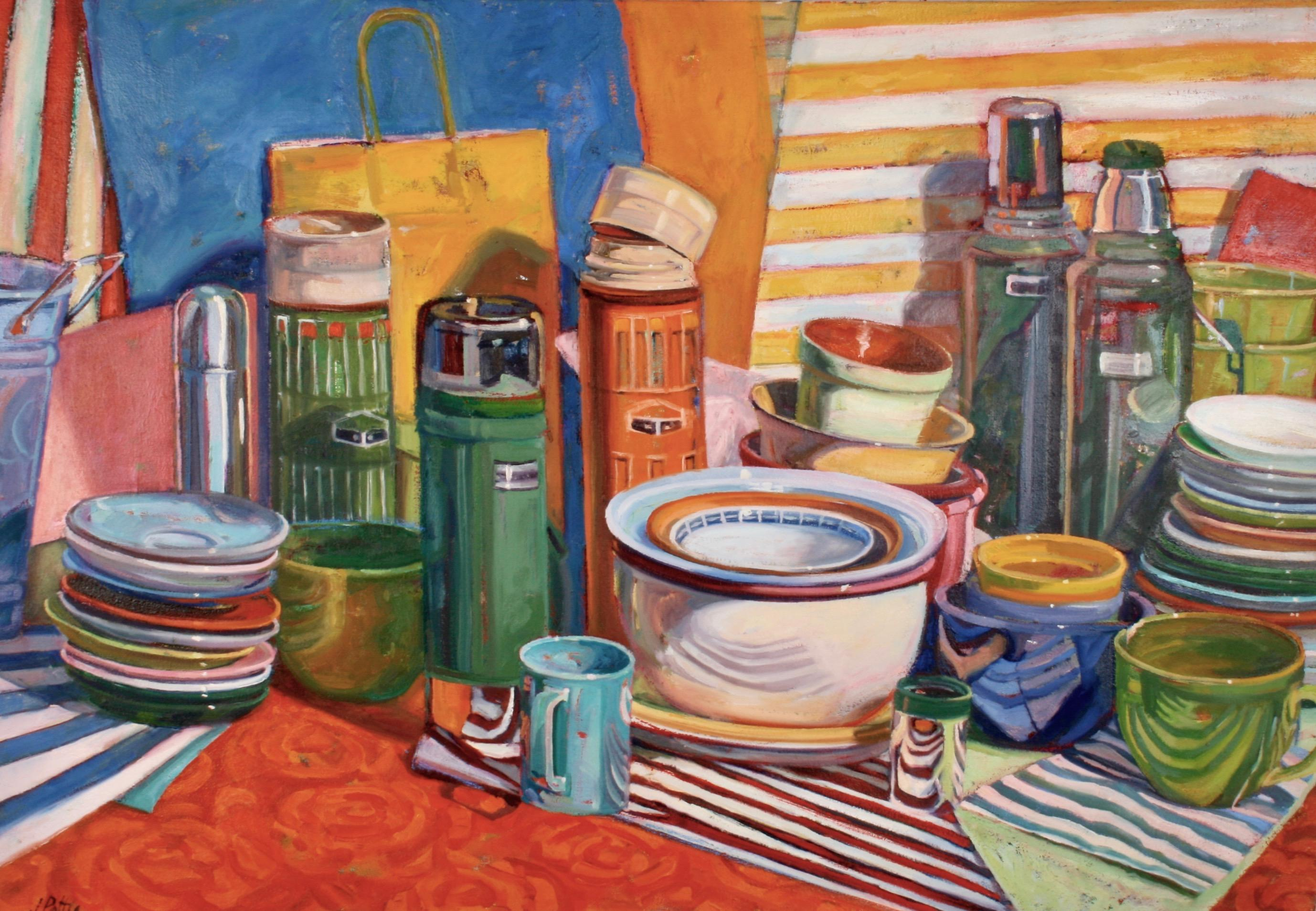 """""""Thermos Cluster"""", oil painting, still life, retro, high chroma, ready to hang"""