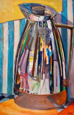 """Silver Pot II"", Jill Pottle, acrylic, oil, still life, retro, ready to hang"