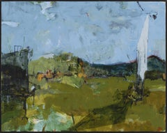 """""""Fort Ann II"""", acrylic, painting, landscape, contemporary, blue, green, yellow"""