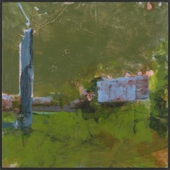 """""""Fort Ann III"""", acrylic, painting, landscape, contemporary, green, blue, grey"""