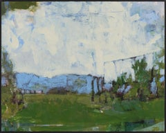"""""""Fort Ann IV"""", acrylic, painting, landscape, contemporary, blue, green, cream"""