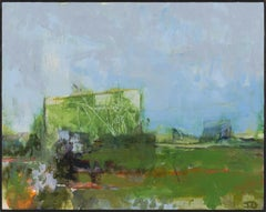 """""""Fort Ann V"""", acrylic, painting, abstract, landscape, contemporary, blue, green"""
