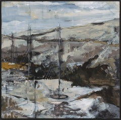 """Ipswich  I"", acrylic, painting, abstract, landscape, contemporary, grey, yellow"