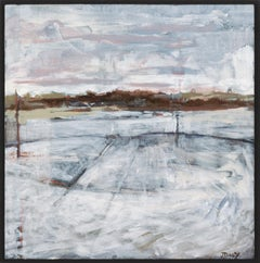 """""""Mooring III"""", acrylic painting, landscape, industrial, white, grey, brown"""