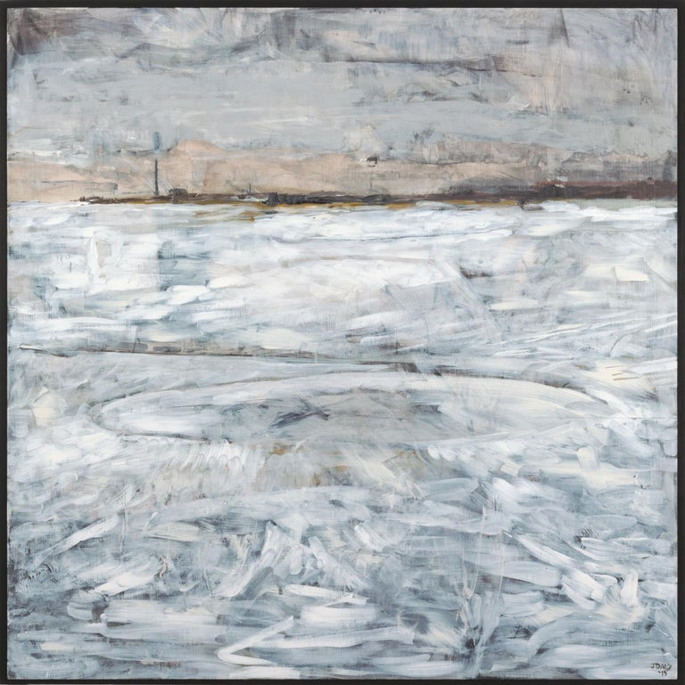 """""""Mooring I"""", John J. Daly, acrylic painting, landscape, industrial, white, gray - Painting by John J. Daly"""