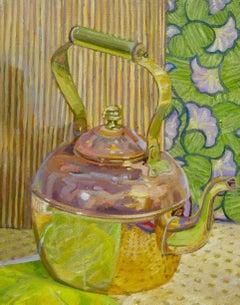 """Copper Pot"", Jill Pottle, acrylic, oil, still life, retro, ready to hang"