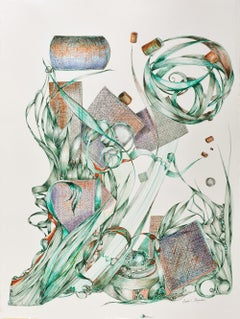"""Elude"", Sarah Alexander, contemporary, watercolor, drawing, teal, green, amber"