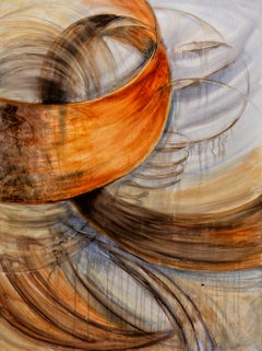 """Spin"", Sarah Alexander, contemporary, watercolor, canvas, rusts, sepias, browns"