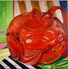 """""""Red Pot"""", oil painting, still life, retro, ready to hang, high chroma"""