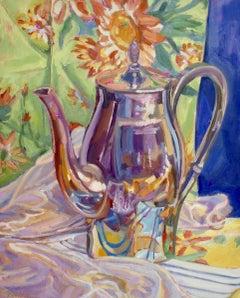"""Flower Pot"", Jill Pottle, oil, still life, retro, ready to hang, high chroma"
