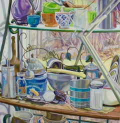 """Illuminated Kitchenware"", oil painting, still life, retro, high chroma"