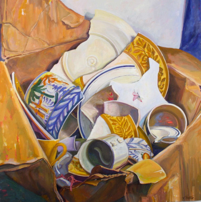 """Dish Disarray"", oil painting, still life, retro, high chroma, bold patterns"