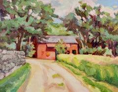 """Russell's Barn"", Jill Pottle, oil, en plein air, high chroma, landscape"