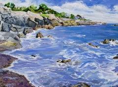 """""""The Neck II, Marblehead"""", Jill Pottle, oil, en plein air, seascape, expressive"""
