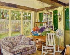 """Daron's Porch"", Jill Pottle, oil, en plein air style, high chroma, yellow, warm"