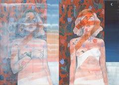 """Paint Me to Match My Grandma's Drapes"", Mia Cross, oil, acrylic, woman, nude"