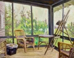 """""""Fairfield Porter's Compound"""", Jill Pottle, oil, en plein air style, high chroma"""