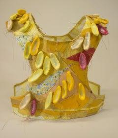 """Yellow"", mixed media, sculpture, vest, ceramic, red, bright"