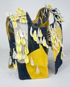 """""""Caution"""", mixed media, sculpture, ceramic, vest, black, bright, yellow"""