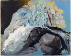 """""""""""Ley Line"""", oil painting, abstract, landscape, water, blues, white, grays"""