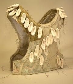 """Noncommittal"", mixed media, sculpture, ceramic, vest, neutrals, gold, white"