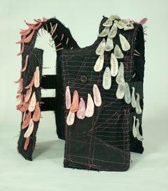 """Other"", mixed media, sculpture, vest, ceramic, black, white, pink, grey"