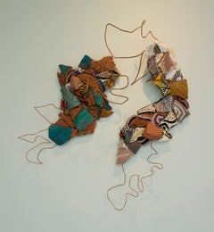 """Remix 10: Conjecture"", mixed media, abstract, sculpture, brown, green, blue"