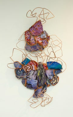 """Remix 7: Vessel Excavation"", mixed media, abstract. sculpture, blues, purple"