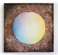 """Planet 1"", mixed media, painting, pastel, soil, landscape, sunrise, earth tones"