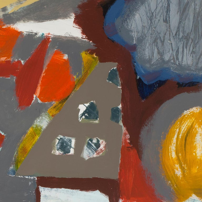 """Melissa Shaak's """"A Place I Know"""" is a 50 x 38 inch abstract acrylic painting on paper. Three small, bright-orange objects are set in the middle ground of a loose landscape or dreamscape. The surroundings contain a playful array of paint textures,"""