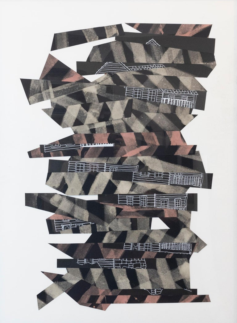 """""""Collapse"""", mixed media, abstract, collage, black, white, brown - Mixed Media Art by Susan Greer Emmerson"""