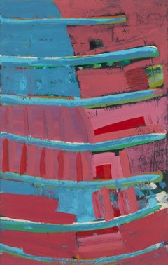 """Easements"", Melissa Shaak, acrylic painting, abstract, blues, reds, textured"