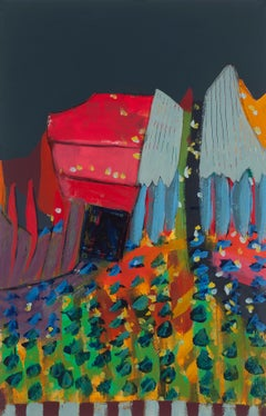 """""""Fiesta Road"""", Melissa Shaak, acrylic painting, abstract, red, gray, bright"""