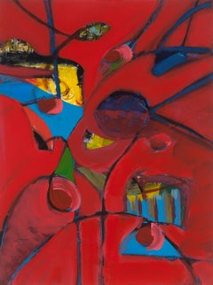 """""""Reds and Blues 3"""", acrylic painting, abstract, bold, whimsical, yellow"""