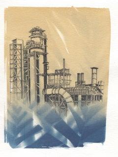 """Entanglement 12"", pen, ink, cyanotype, photograph, oil refinery"