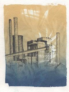"""Entanglement 1"", pen, ink, cyanotype, photograph, power plant"