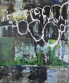 """""""Cantata Criolla (Estevez)"""", acrylic, painting, abstract, blue, navy, green"""