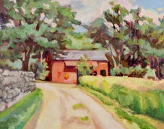 """""""Russell's Barn"""", oil painting, landscape, nature, high chroma, vibrant"""