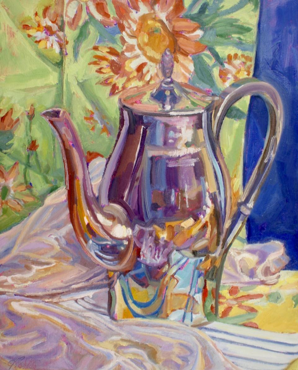 """Flower Pot"", oil painting, still life, retro, ready to hang, high chroma"