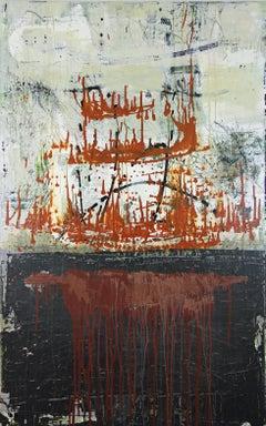 """Translation of Miroirs III. (Ravel)"", acrylic, painting, abstract, green, black"