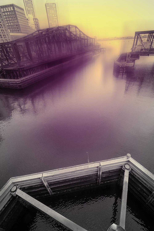 """Bridge with Cobalt Violet and Cadmium Yellow 9:44am"", photo, landscape, Boston"