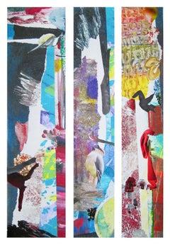 """Hawaiian Lollapalooza"", surreal, abstract, collage, blues, reds, birds, fish"