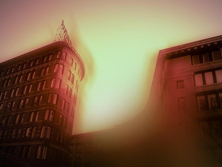"Jeffrey Heyne Landscape Photograph - ""Melcher Street with Nickel Yellow and Rose Madder 6:07pm"", landscape, Boston"